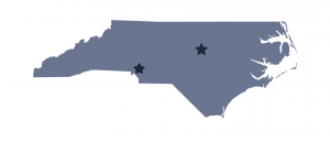 Charlotte and Raleigh on North Carolina Map