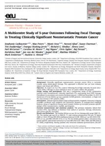 European Urology Focal HIFU Study